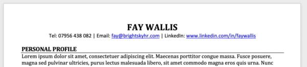 LinkedIn URL in a CV