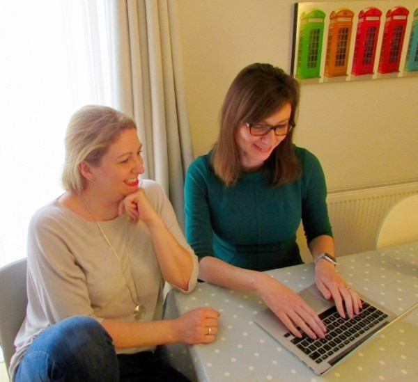 Holly helping Fay with website